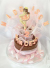 chocolate ballerina, on single chocolate tier