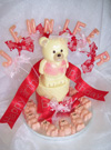 chocolate teddy, on single chocolate tier