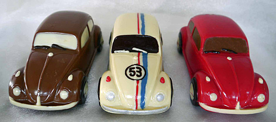 Hand-made chocolate VW beetle cars