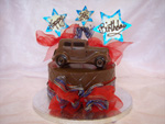 Hand-made chocolate tier with motor care theme