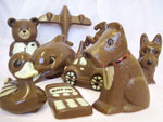 Hand-made chocolate specialities including animals, cars, and aeroplanes
