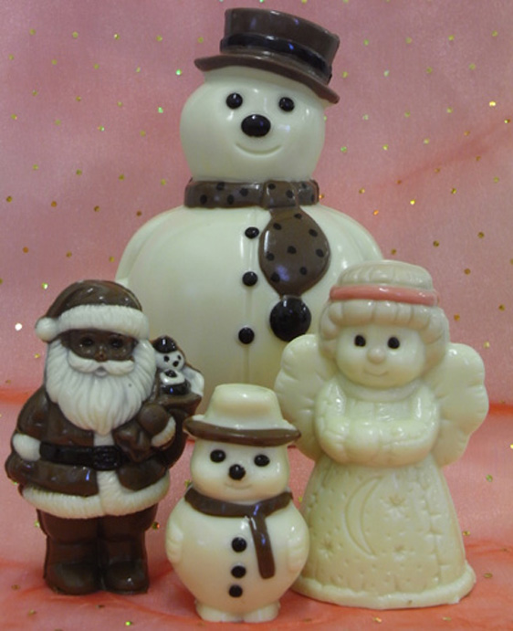 hand made snowmen, father xmas and angel