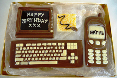 a picture of a chocolate computer set