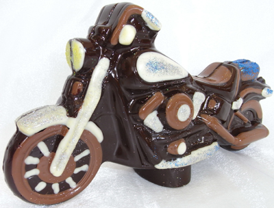 a picture of a milk chocolate Harley Davidson decorated with white and dark chocolate