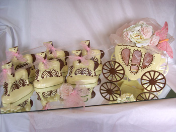 The Chocolate House Wedding Horse And Carriage With Pink