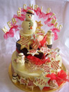 a picture of a white chocolate snowmen and Angels on a chocolate tiers