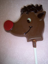 a picture of a chocolate red nose raindeer